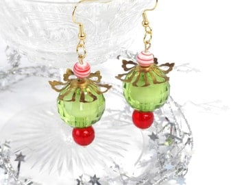 christmas earrings, red and green cocktail earrings, Whoville christmas jewelry, holiday earrings, candy cane peppermint earrings,