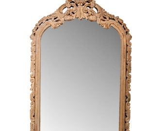 REDUCED 19th Century Stripped Pine Crested Wall Mantel Mirror [1830]