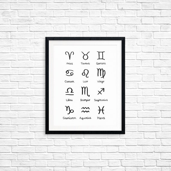 Printable Art, Zodiac Symbols, Astrology, Sun Signs, Star Signs, Spiritual Symbol Art, Art Printable, Digital Download Print