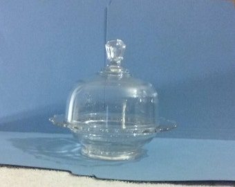 """Beautiful 1960's Clear Glass  Dome Covered, 6 3/4""""  Scalloped Butter/Cheese Dish, Flawless Condition"""