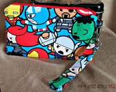 Marvel Kawaii Wristlet -  Characters Wallet - Comics Zippered Pouch - Clutch - Gift - Quick Shipping - Reduced - OOAK - Ready to Ship