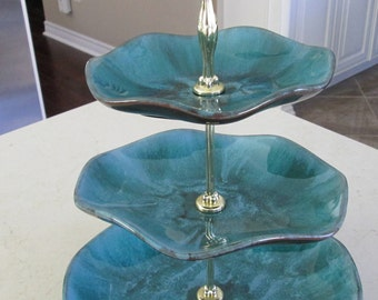 Three Tier Dessert Stand Serving Tray Blue Mountain Pottery