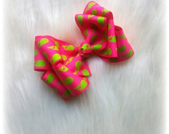 Hot Pink Double Boutique Hair Bow with Neon Green Whales