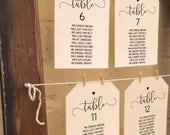 Rustic wedding seating chart, DIY printable table plan, wedding reception seating chart, templates 5x7 and 6x4 inch / optional heart motif