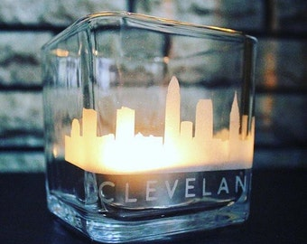 Cleveland Skyline Candle Holder - CLE - This is Cle - Ohio - OH - State Pride - Love - Home Decor
