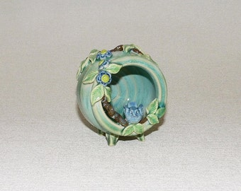 Tilted Blue Bird Pot with Forget-Me-Not Flowers