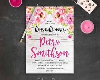 Floral Bachelorette Invitation Bachelorette Party Invitations Hens Night Invitation Rustic Bachelorette Invite Bachelorette Party Invites
