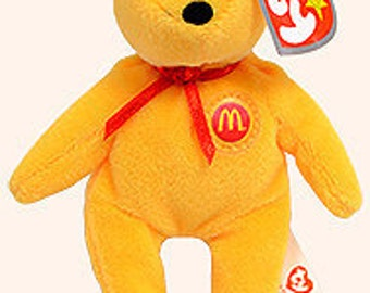Teenie Beanie Babies, Golden Arches the Bear, Beanie Baby, Teddy Bear, Bears, Kawaii, Bean Bag Toy, Kidtoys, Kiddos, Stuffed Toys, Toys