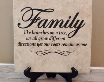 Family Like Branches on a Tree, Family Tile, Family Sign, Family Name Sign, Family Established Sign, Family Tree, Personalized Gift