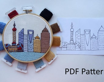 Shanghai Hand Embroidery pattern PDF. Embroidery Hoop art, Wall Decor, Housewarming Gift. Free Hand embroidery guide!