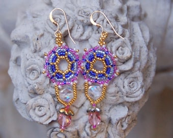 Lacey Pink and Blue Earrings