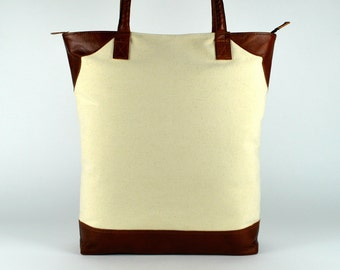 Laptop Tote ~ Leather Tote ~ Designer Tote ~ Canvas Tote ~ Spacious tote ~ Travel Tote~ white ~ without stamp