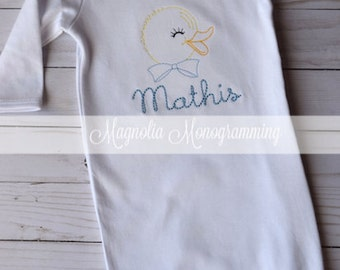 Boys Embroidered Duck Baby Gown
