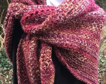 Copper & Wine: Unique triangle shawl / wrap, very big