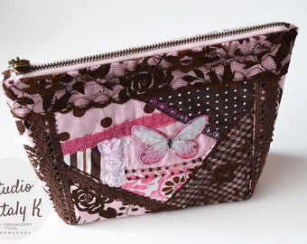 Floral cosmetic bag fabric makeup case beauty bag brown leather crazy quilt pink zipper pouch butterfly Cosmetic organizer travel case