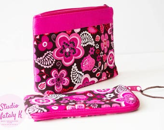 Set Hot magenta floral cosmetic bag  iPhone case Zipper makeup pouch Bright flowers cosmetic organizer case fabric gadget pouch Toiletry bag