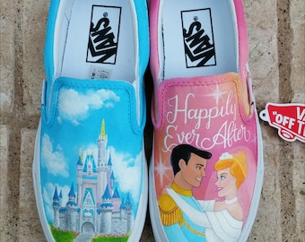 Disney Wedding Shoes - Cinderella and Castle Painted Vans - Shanny's Shoes