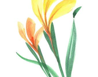 Original watercolor greeting card. Spring colors. Free shipping in USA