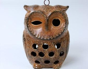 Vintage OWL ceramic OWL Lantern tea light holder candle holder Germany 70s