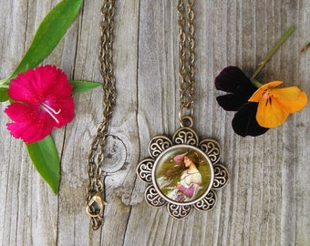 John Waterhouse Necklace, Windswept Painting Glass Dome Pendant Necklace