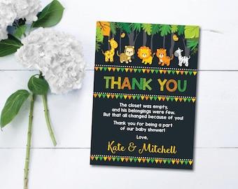 Jungle Baby Shower Thank You Card. Safari Baby Shower. Chalkboard Baby Shower Favors. Thank You Note. Safari Animals. Lion. Giraffe. JUN3