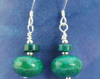 Chrysocolla Heishi Earrings, Gemstone Earrings, Made to Order, Bridal Earrings, Bridesmaid Gift, Gift for Mum, Gift for Wife