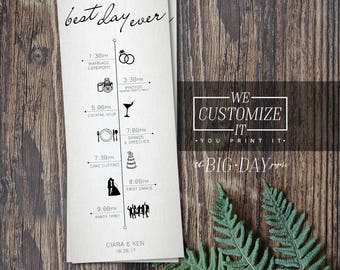 Best Day Ever Customized Wedding Timeline Infographic •  Wedding Program Timeline • Wedding Day Itinerary Program Infographic