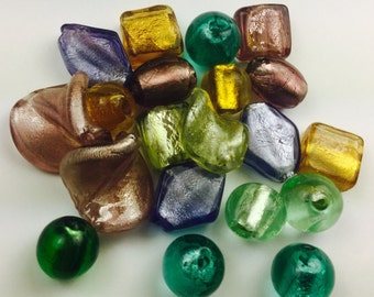 20 qty ~ Venetian Style Glass Beads ~ Multi Color ~ Foil Lined ~ Approx. 10mm-15mm ~ Various Shapes ~ (E1006)