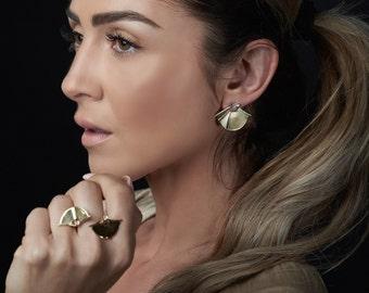 Gold Plated Earrings, Gold Stud Earrings, Gold Wedding Earrings, Wedding Gift Earrings, Wedding Jewelry, Modern Earrings, Statement Earrings
