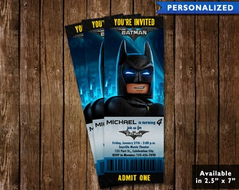 Lego Batman Birthday Invitation Ticket - Lego Batman Invitation - Lego Batman Movie Ticket Invitation (Digital File Download)