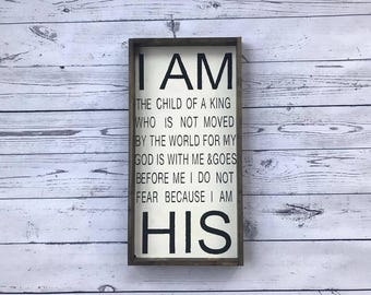 I AM HIS 24x12 Sign. Farmhouse sign. Christian Sign. Wood framed Sign. Hand Painted Sign. Rustic Sign. Farmhouse Wall Decor. Scripture Sign.