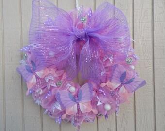 Summer Mesh Wreath, Spring mesh Wreath,  Summer Wreath, Butterfly wreath