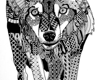 WOLF (animal illustration with patterns, black ink) print