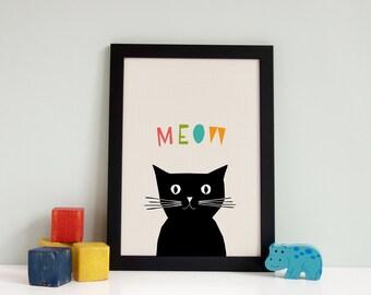 Girls Nursery Prints, Farm Animal Nursery Print, Cat Meow Art, Set of Animal Prints, Colourful, Cat Meow Print, Baby Animal Nursery Print