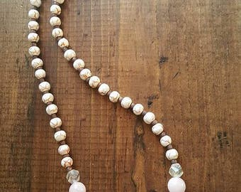 Light Pink Stone Beaded Necklace