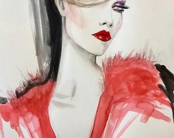 Glam 80s Inspired Original fashion Illustration Painting