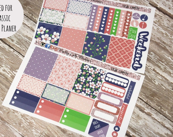 Happy Planner Stickers - Weekly Planner - Erin Condren Life Planner -  Functional stickers - LILAC CHERRY - Spring Stickers