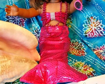 Fuschia MERMAID Doll Outfit fits 18 inch dolls like American Girl