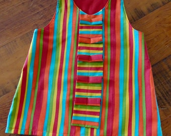 Girls Ruffle Dress, Striped Girls Dress, Toddler Dress, Ruffle Front, Toddler Girl Dress, Girls A-Line Dress, Pinafore, Ready to Ship