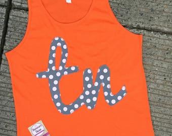 Tennessee Tank top, Orange 'tn' tank top with gray polk dots