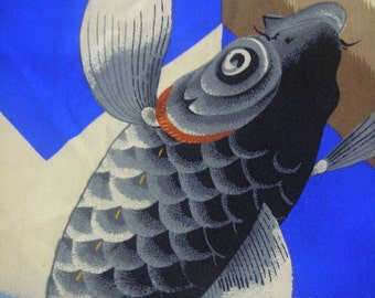 160: Vintage boy's kimono silk carp and Samurai helmet arrow pattern wave blue guardian dogs