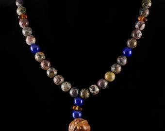 19.5in Mermaid Necklace with Hand Carved WOOD Pendant, Leopard JASPER Beads Lapis Lazuli Beads & Amber Beads with Sterling Silver Clasp J721