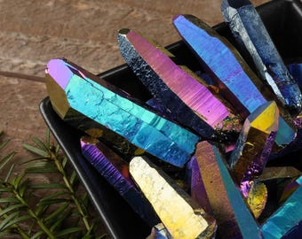 One TITANIUM QUARTZ Rainbow Quartz Crystal Point - Quartz Point, Rainbow Aura Quartz, Angel Aura Quartz, Rainbow Crystal E0386