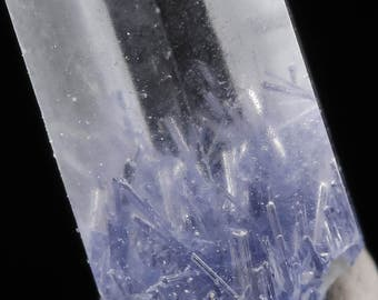 One XXS DUMORTIERITE in QUARTZ Crystal Point - Blue Quartz Dumortierite Crystal, Dumortierite Quartz Point, Clear Quartz Crystal E0411