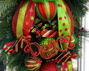 Christmas Wreath, Candy Swag, Christmas Swag, Holiday Swag, Whimsical Swag, Green and Red Swag, Ornamental Swag
