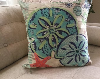 "SAND Dollar Accent Decorator Pillow. FREE Pillow Form/Insert 16""x16"". Cotton/linen.. Coastal Decor. Beach Decor. Nautical Decor"
