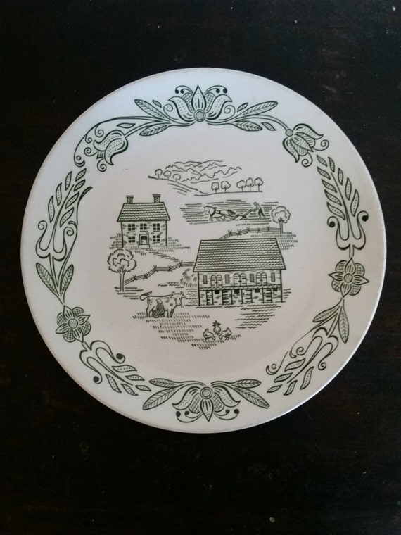 1950's Royal China Underglaze Dinner Plate   Green County Pattern   Amish Farm House Country Scene   Replacement Piece