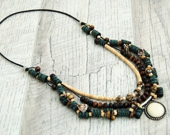 Statement necklace Bib layered necklace Long Multi strand beaded necklace OOAK Ethnic necklace Green Boho necklace Unique handmade jewelry