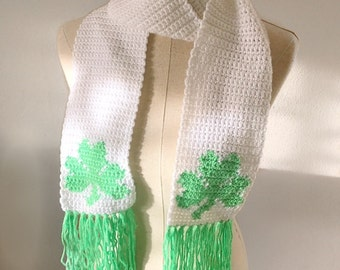 Shamrock Scarf | Crochet Scarf | Lime Green and White | Scarf with Fringe | St. Patrick's Day | Four Leaf Clover