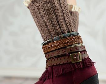 Khaki Braided Boot Cuffs